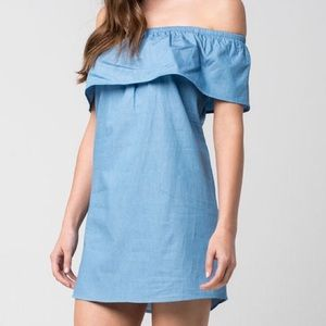 Love, Fire Off the Shoulder Chambray Dress Ruffle